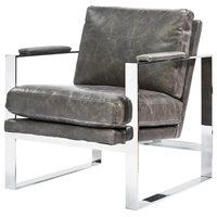 Elan Mid Century Modern Leather Metal Arm Chair, Grey