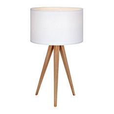 Versanora Tripod LED Bedside Table Lamp, White Shade, Modern Lighting