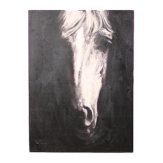 Mystical Equestrian Monochrome Hand Painted Front View Horse Oil Painting