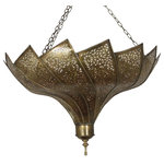 Badia Design Inc. - Moroccan Brass Chandelier with an Elegant Design, Large - Moroccan Brass Chandelier with an Elegant Design