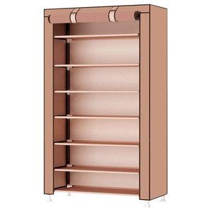 Modern Stylish Storage Organizer Upholstered, 8-Tier, Deep Brown