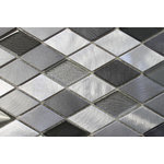 """Rocky Point Tile - Kings Cross Diamond Brushed Aluminum and Glass Mosaic Tile, 12""""x12"""" - Looking for something cool and neutral? Try on our diamond glass and aluminum mixed mosaic tiles. Colors include a variety of greys and silvery aluminum pieces. You'll notice the glass pieces have a textured backing that adds a nice dimension to these stunning tiles."""