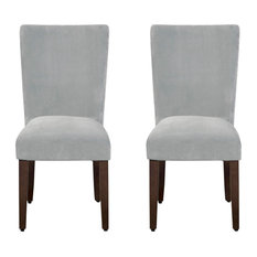 Velvet Upholstered Parson Chair With Wooden Tapered Legs Gray And Brown Set Of