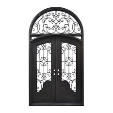 "Exterior Front Entry Iron Double Door, 114""x65"""