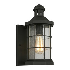1x60W Outdoor Wall-Light w/ Matte Black Finish and Clear Seeded Glass by Eglo 20