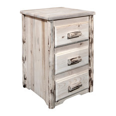 Montana Collection Nightstand With 3-Drawers Clear Lacquer Finish