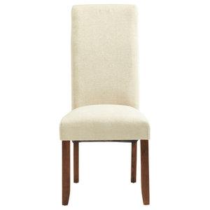 Plain Kingston Chairs With Walnut Legs, Cream, Set of 2