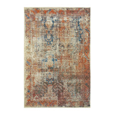 """Parham Distressed Traditional Beige and Multi Area Rug, 5'3""""x7'6"""""""