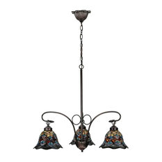 "Meyda 30""W Tiffany Peacock Feather 3-Light Chandelier"