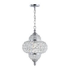 "Juliette 12"" Crystal, Metal LED Chandelier Pendant, Chrome"