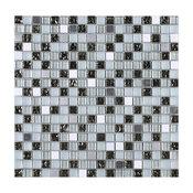 """11.75""""x11.75"""" Sadie Mosaic Tile Sheet, Black, White and Silver"""