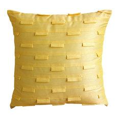 """Textured Pintucks Yellow Art Silk 18""""x18"""" Throw Pillow Cover, Yellow Ocean"""