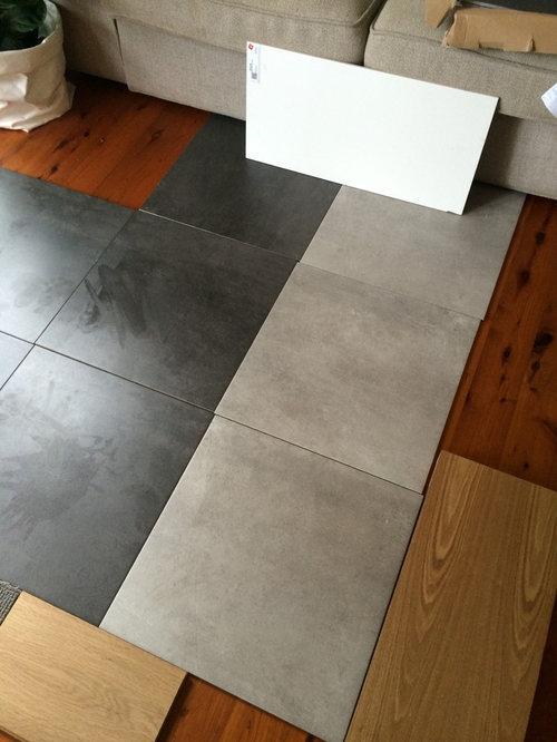 Bathroom floor tile colour - pls help! on grey bathroom with 12x24 tile, light gray ceramic tiles, grey subway tile bathrooms, grey and white tile bathroom, grey flooring, small bathroom big tiles, grey bath tile, grey slate tile bathroom, grey bathroom tile patterns, grey italian tile bathroom, grey bathroom tile ideas, grey vinyl, white bathroom vanity with gray tiles, grey bathroom decor, grey bathroom remodeling ideas, grey bathroom decorating, grey natural stone tiles, grey bathroom walls, grey beadboard bathroom, grey floor with oak cabinets,