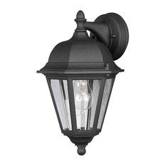 Forte Lighting 1 Light Cast Aluminum Outdoor Wall Lantern in Black