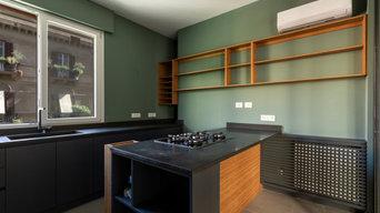 Piano/mensole pietra lavica/bambù