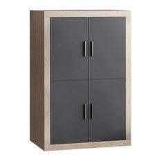 Elba Cambrian Double-Wide Modular Storage Cabinet, Grey