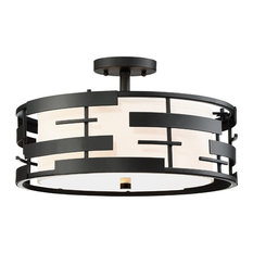 Lansing 3 Light Semi Flush With White Fabric Shade & Opal Diffuser