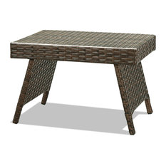 Costway Mix Brown Folding Rattan Side Coffee Table Garden Outdoor Furniture