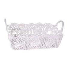 "Cotton Resin Lace Basket Tray 20x14x6"""