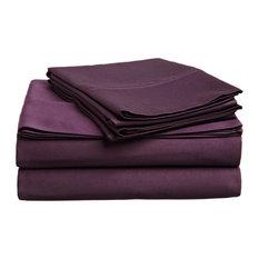 Solid Egyptian Cotton Queen Deep Pocket Sheet Set, Plum