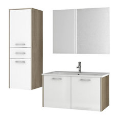 "33"" Glossy White and Larch Canapa Bathroom Vanity Set"