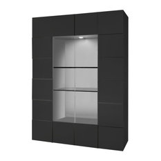 Diana 2-Door Display Cabinet, LED Lights, Grey Gloss