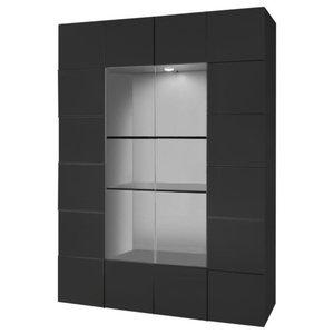 Diana 2-Door Display Cabinet, LED Lights, Grey Gloss