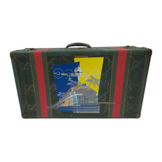 Suitcase with Painted Airplane and Train