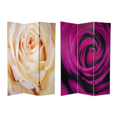 Double Sided 6 Ft. White/Violet Rose Folding Screen - 3 Panels