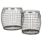 IMAX Corporation - IMAX Corporation Balaz 2-Piece Wire Table Set, Gray - Whether rustic, industrial or cottage style, this two piece set of galvanized metal side tables add style and function to any home. Add both style and comfort to your living space with this attractive collection. The subtle coloration of this lovely collection allows it to blend in easily with any color scheme or style of decor