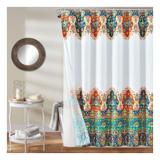 Bohemian  Shower Curtain Turquoise with Peva Lining and Rings 14Pc Set 72X72