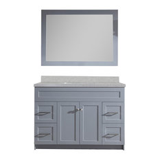 "Ariel Hamlet 49"" Single Sink Vanity Set With White Quartz Countertop, Gray"
