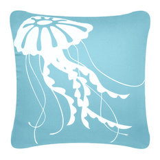 wabisabi green jellyfish eco coastal throw pillow ocean blue without insert decorative