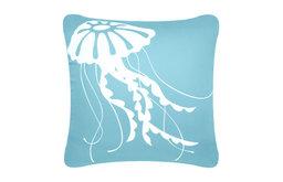 Jellyfish Eco Coastal Throw Pillow Cover, Ocean Blue