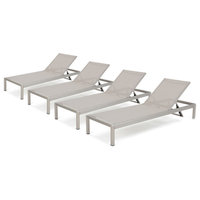 GDF Studio Coral Bay Outdoor Mesh Chaise Lounge, Set of 4