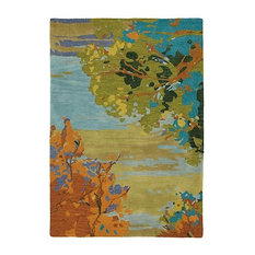 Landscape Wool Hand Tufted 5'x8' Rug, Teal