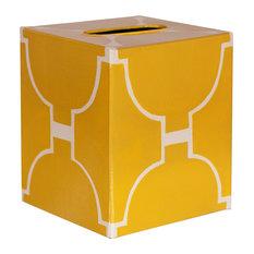 Kleenex Modern Tissue Box Cover, Yellow/Cream