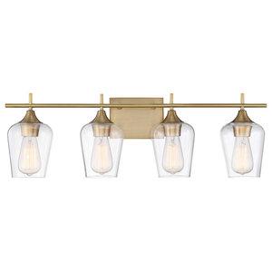 "Bathroom Vanity 4-Light With Warm Brass Finish Incandescent Bulb 29"" 400W"