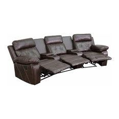 Contemporary Comfort 3-Seat Reclining in Leather, Headrest, Pull Handle, Brown