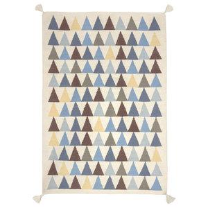 Triangles Kilim Children's Rug, Blue, 140x200 cm
