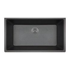 Polaris P848BL Black Large Single Bowl Granite Kitchen Sink