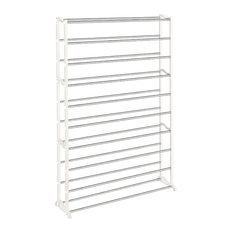 Lynk 50 Pair Shoe Rack 10 Tier Shelf Organizer White