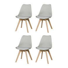 Urban Modern Dining Chairs, Set of 4, Grey