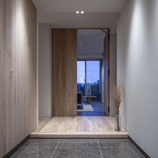 Diseño de hall machihembrado, machihembrado y blanco, moderno, de tamaño medio, machihembrado, con suelo de granito, puerta simple, puerta blanca, suelo gris y machihembrado