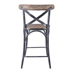 "Sloan Industrial 26"" Counterstool, Industrial Gray and Pine Wood"