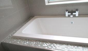 Mosaic boxed in bath