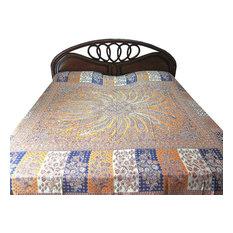 Mogul Interior - Pashmina Indian Bedding Saffron Indigo Medallion Bedspreads Blanket Throw - Blankets