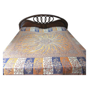 Mogul Interior - Pashmina Indian Bedding Saffron Indigo Medallion Bedspreads Blanket Throw - Throws