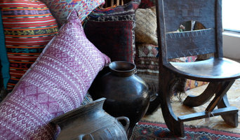 ethnic pillows, wood and pottery