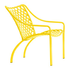 Tamiami Lounge Chair, Vinyl Lace, Yellow Strap, Yellow Finish